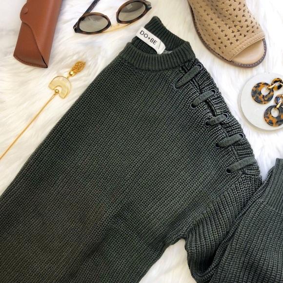 236ca1640e Dark Olive Green Lace Up Shoulder Sweater